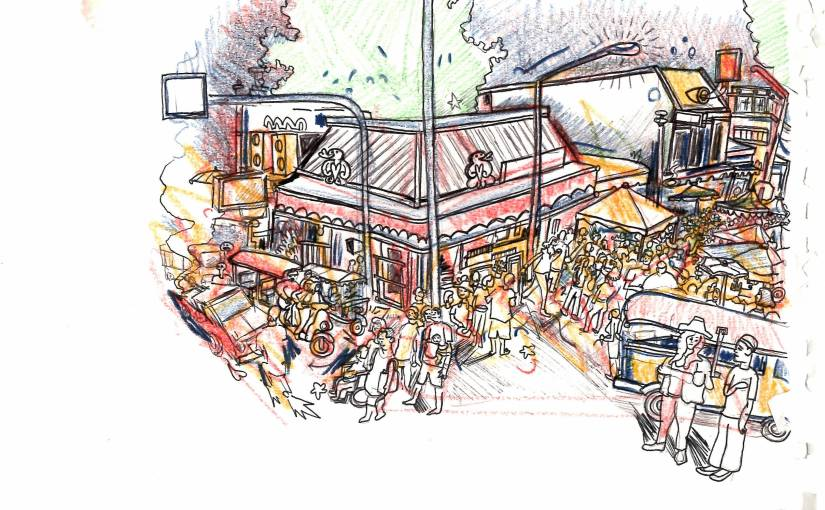 A sketch of a busy Thailand street