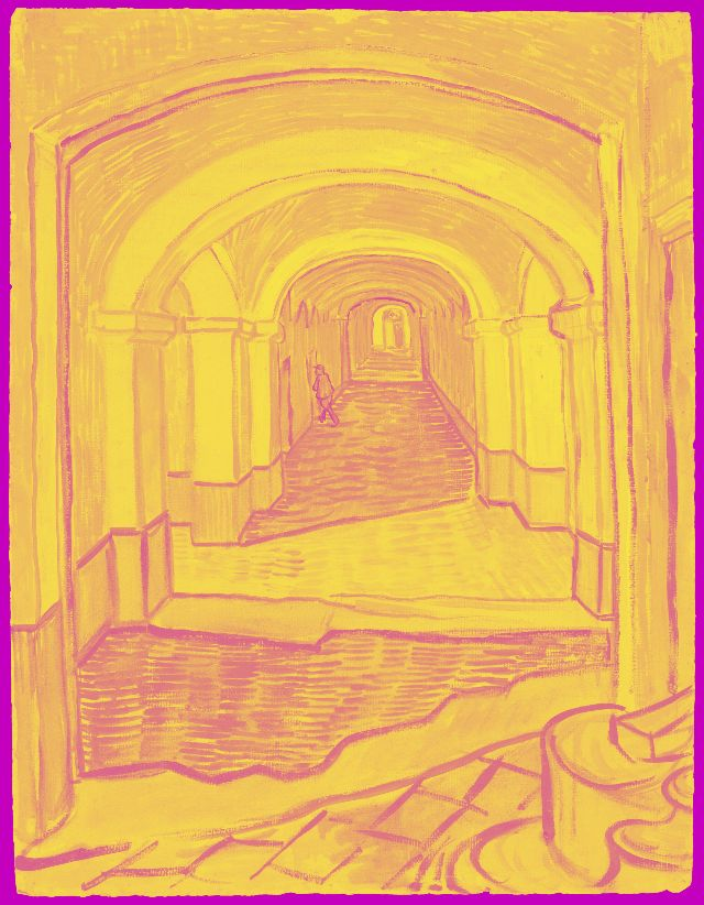 A highly saturated version of art of a hallway with a figure going into a room